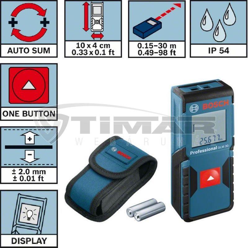 Bosch GLM30 Lézeres távolságmérő (0601072500)